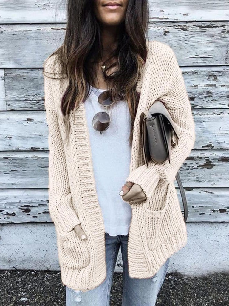Medium style Solid Color Long-sleeved Cardigan