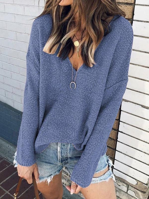 Casual Long Sleeve Sweater With Deep V-Neck