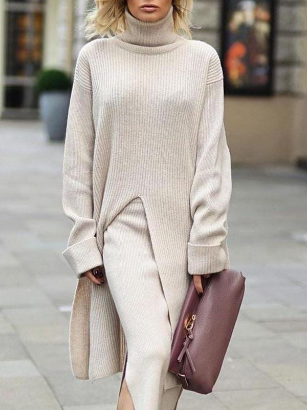 Leisure Plain High Collar Long Sleeve Long Slit Sweater