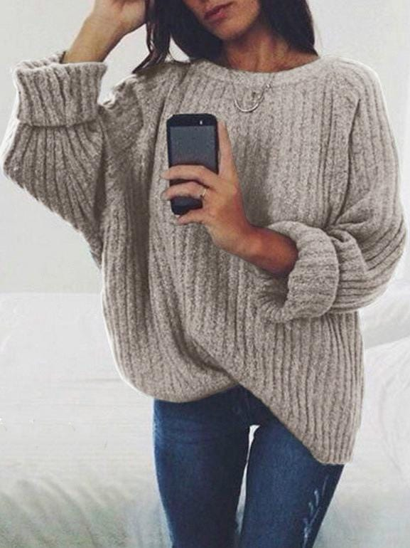 Solid Color Round Collar Sweater Pullover