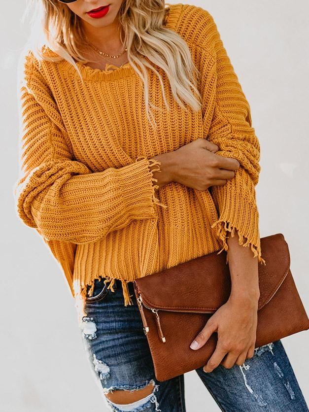 V-neck Loose Solid Color Sweater