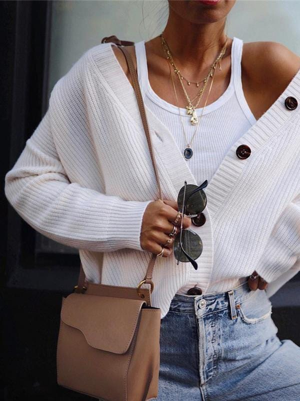 Leisure Solid Color Button Knit Cardigan