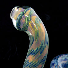 "4""-4.5"" Sherlock Style Inside-out Color Changing Gold and Silver Fumed with Oily Cobalt Drops"