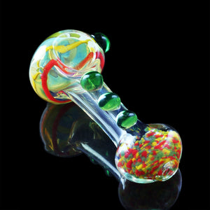 "4-4.5"" Silver Fumed Inside Out Worked Spoon with Colored Marbles, Rasta Cane Head, and Rasta Frit Mouthpiece"