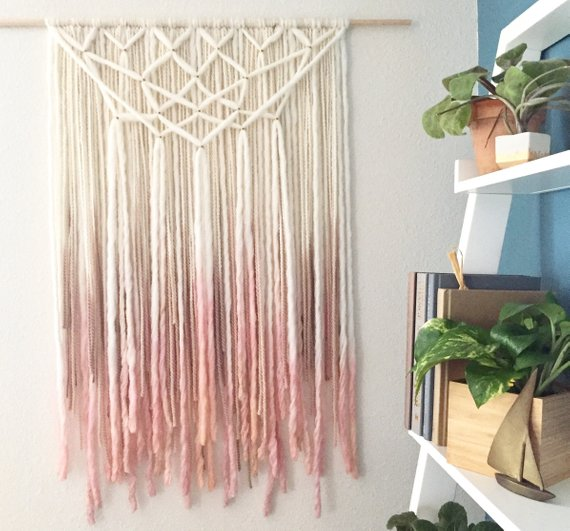 Blush and Gold Hanging Wall Tapestry