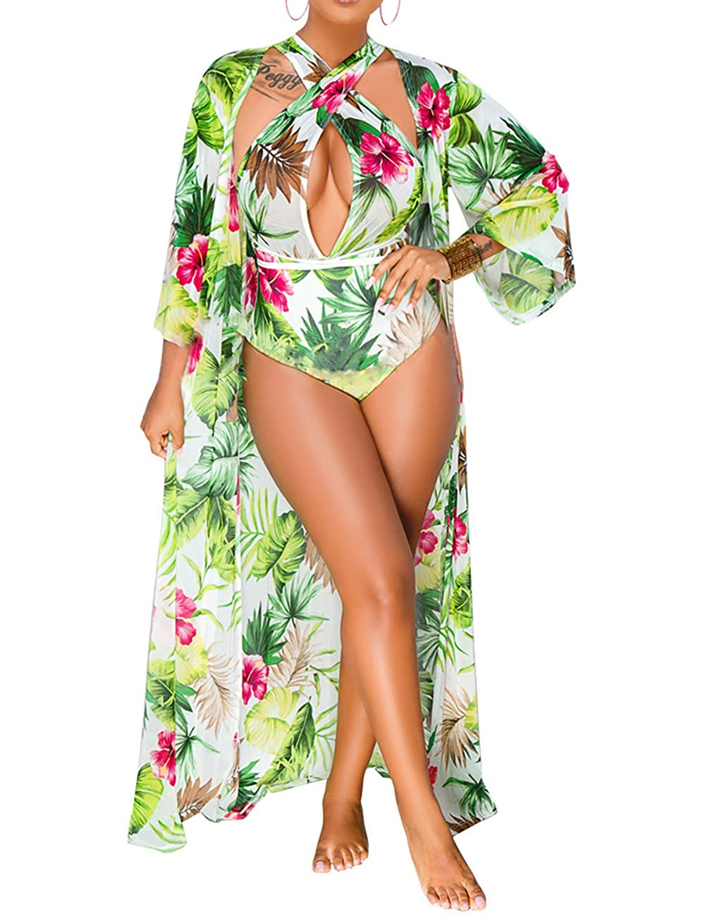 0216602df5f77 ... Sexy Printed Green 3 Piece V Neck Swimsuit w/ Matching Cover Up ...