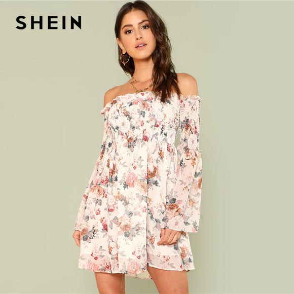bc68aa4a4c8 SHEIN Trumpet Sleeve Floral Smock Dress 2018 Summer Long Sleeve Off the  Shoulder Dress Women Print