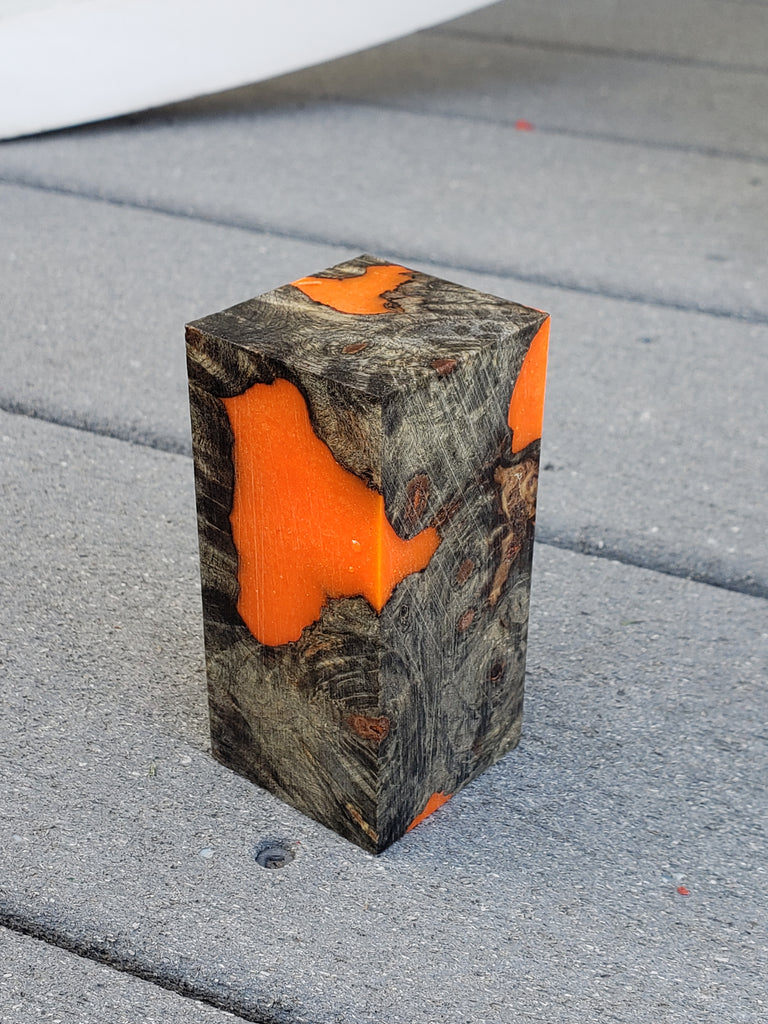 Biohazard Orange Hand-dyed Burl Hybrid for Sax Spy End Plugs