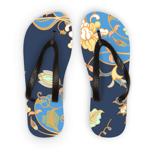 Amrita Sen Carnation Vines Blue and Indigo Flip Flops