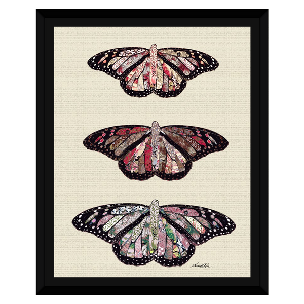 Three Rustic Butterflies on White Framed Canvas Wall Art