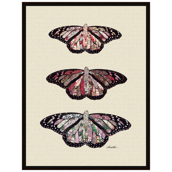 Amrita Sen Fine Art Print Three Butterflies on White Canvas