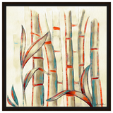 Bamboos with Dark Red Rustic Hue Framed Canvas Wall Art