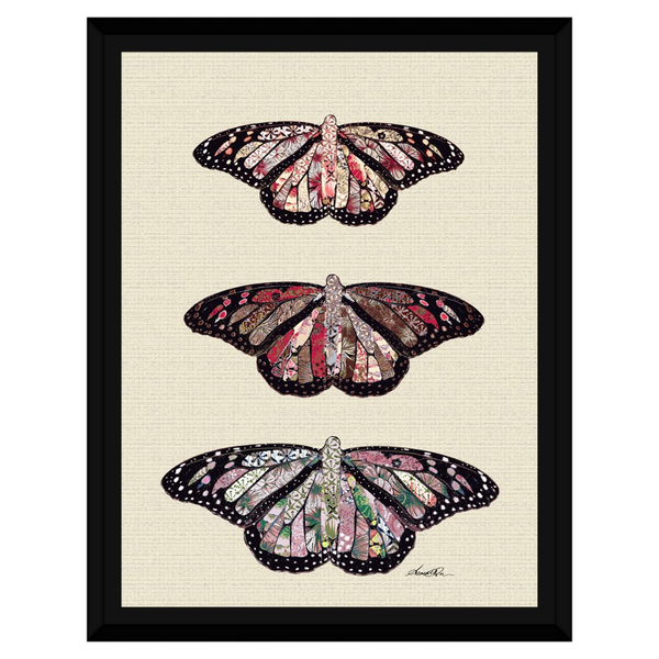 Butterflies Rustic on White Canvas by Amrita Sen