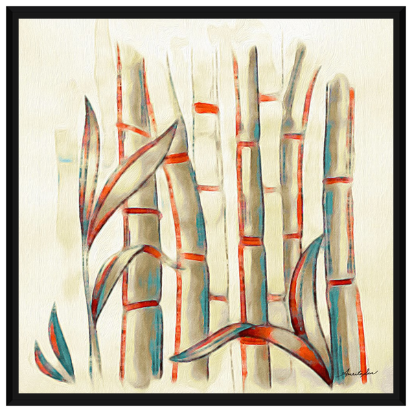 Bamboos Darker Red and Blue On Oil by Amrita Sen