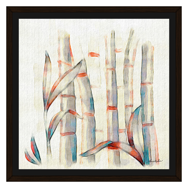 Bamboos Red and Blue On Oil by Amrita Sen