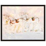 Frolicking Horses Pastel Watercolor by Amrita Sen
