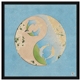 Liv Grn Yin Yan Dolphins Plush on Light Blue by Amrita Sen