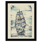 Liv Grn Watercolor Boat on Burlap Framed Canvas