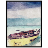 Liv Grn Life Boat Yellow on Blue Water Wash