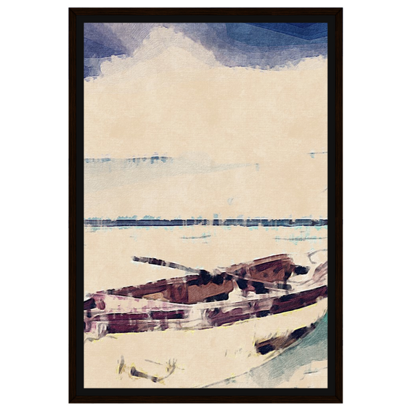 Liv Grn Life Boat Brown on Pastel Tattered Oil by Amrita Sen
