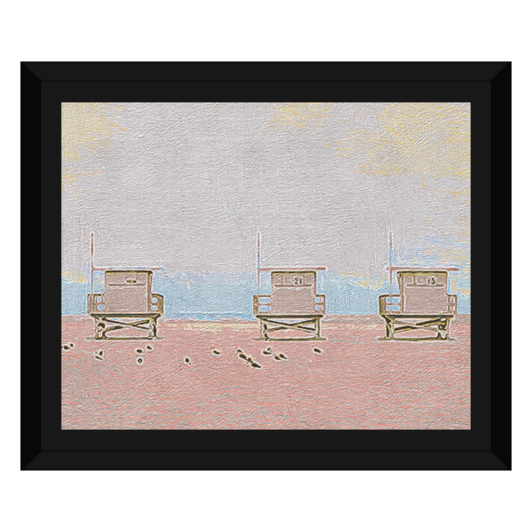 Liv Grn Three Lifeguard Houses Washed Out Pink by Amrita Sen