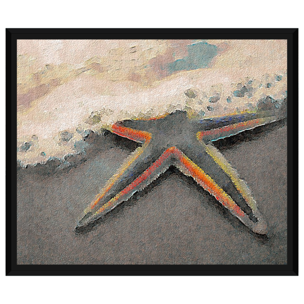 Starfish On The Beach Orange Border on Oil