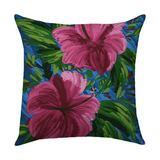 Hawaii Flowers Hot Pink on Blue Decorative Pillow