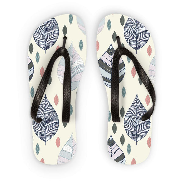 Amrita Sen Falling Leaves on White Flip Flops