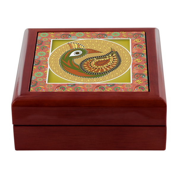 MultiPattern Peacock Jewelry Box