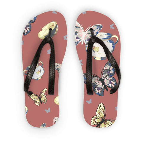 Amrita Sen Bowls and Butterflies Orange Muted Flip Flops