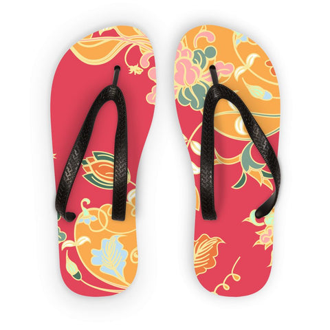 Amrita Sen Carnation Vines Red and Orange Flip Flops