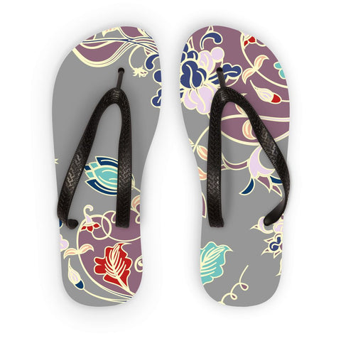 Amrita Sen Carnation Vines Purple and Gray Flip Flops