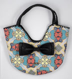 BollyDoll Multi Mandala Muted Orange Blue Faux Leather Handbag