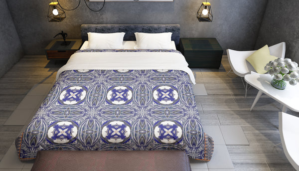 Awakened Blue Mandala Comforter by Amrita Sen