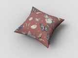 Bowls and Butterflies Muted Orange Decorative Pillow