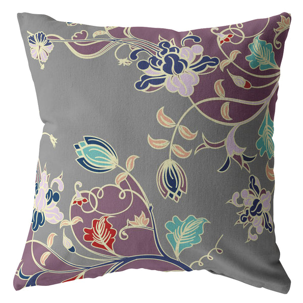 Carnation Vines Purple on Gray Decorative Pillow