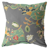 Carnation Vines Orange Green on Gray Decorative Pillow