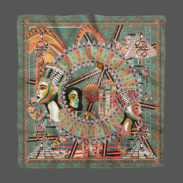 Cleopatra Blue Gray Empress Collection Silk Scarf