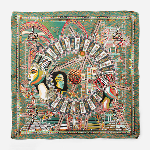 Cleopatra Green Gray Empress Collection Silk Scarf