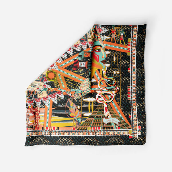 Cleopatra Black Empress Collection Silk Scarf