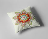 Cosmic Mandala Flower Decorative Pillow
