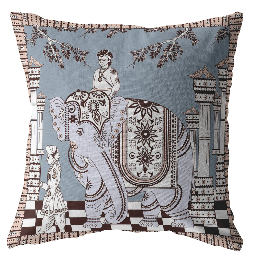 Elephant Rider Light Blue On Muted Brown Decorative Pillow Amrita