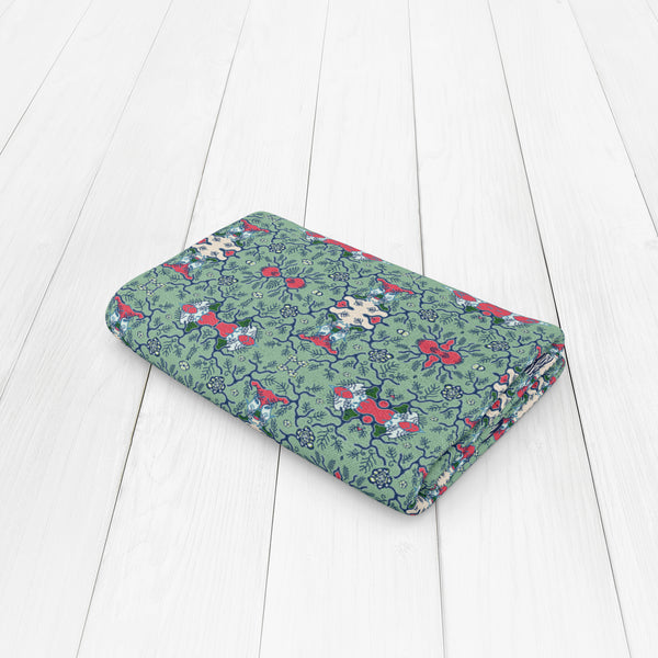 Emerald Fractile Flower: Red, Green, Blue on Muted Green Woven Throw