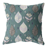 Falling Leaves Muted Green Decorative Pillow