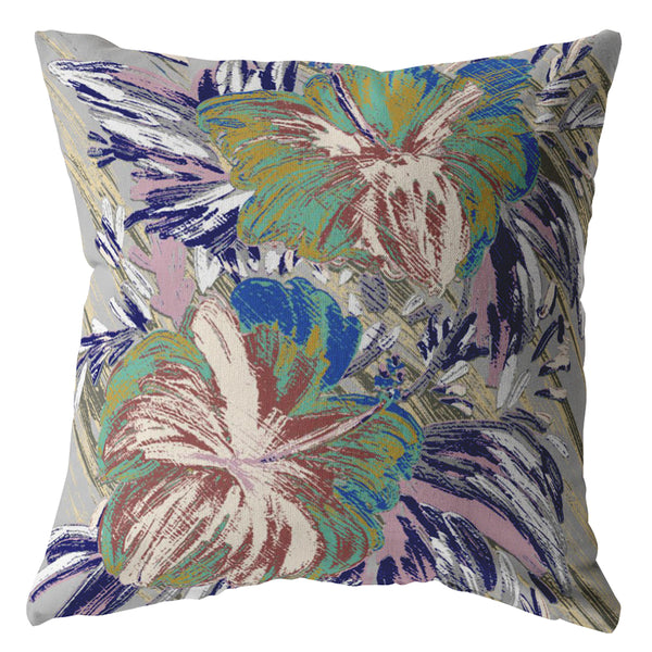 Hawaii Flowers Green on Muted Purple Decorative Pillow