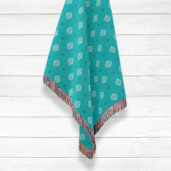 Indian Buttons on Blue Woven Throw