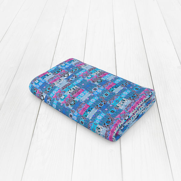 Kantha Repeat: Blue, Dark Blue, Pink, White Woven Throw
