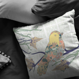 Bird Masked with Floral Decorative Throw Pillow