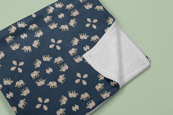 Elephant Nose Up: Beige, Light Brown, Yellow on Dark Blue Fleece Blanket