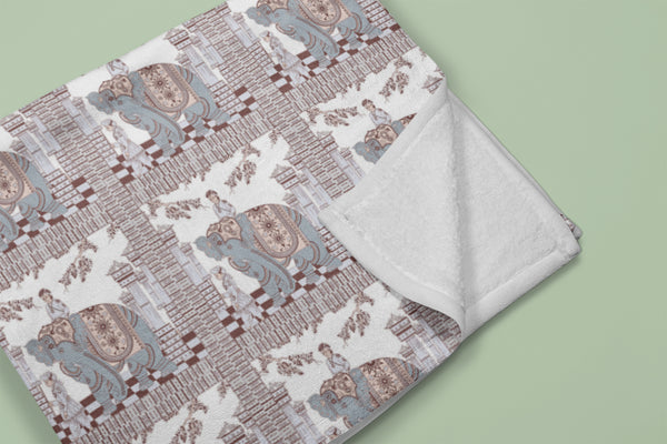 Elephant Rider: Muted Blue, Muted Red, Gray on White Fleece Blanket